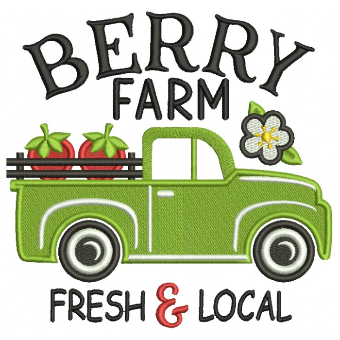 Berry Farm Fresh And Local Truck With Strawberries Filled Machine Embroidery Design Digitized Pattern