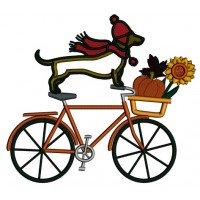 Bicycle With Dachshund Dog And Fall Basket Thanksgiving Applique Machine Embroidery Design Digitized Pattern