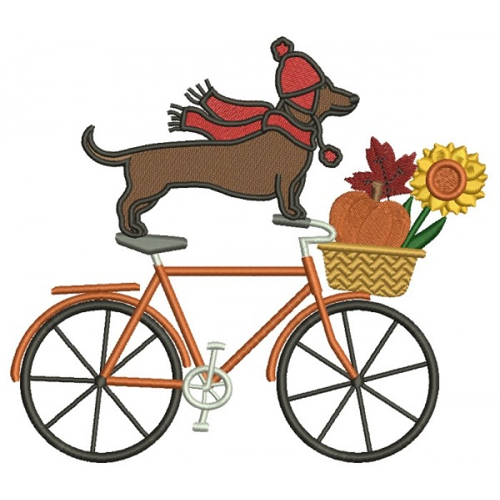Bicycle With Dachshund Dog And Fall Basket Thanksgiving Filled Machine Embroidery Design Digitized Pattern