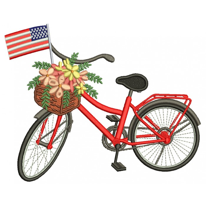 Bicycle With Flowers And American Flag Patriotic Filled Machine Embroidery Design Digitized Pattern