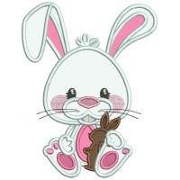 Bunny Holding Little Chockolate Bunny Easter Applique Machine Embroidery Design Digitized Pattern