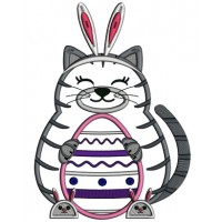 Cat With Bunny Ears Easter Applique Machine Embroidery Design Digitized