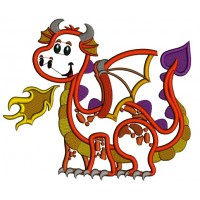 Cute Baby Dragon Applique Machine Embroidery Design Digitized Pattern