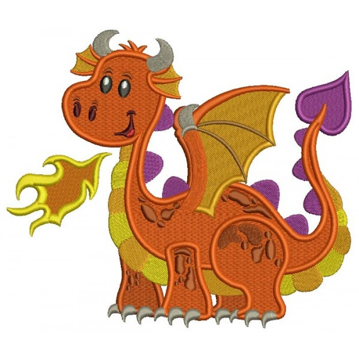 Cute Baby Dragon Filled Machine Embroidery Design Digitized Pattern