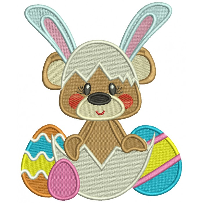 Cute Bear Wearing Bunny Ears Easter Filled Machine Embroidery Design Digitized Pattern
