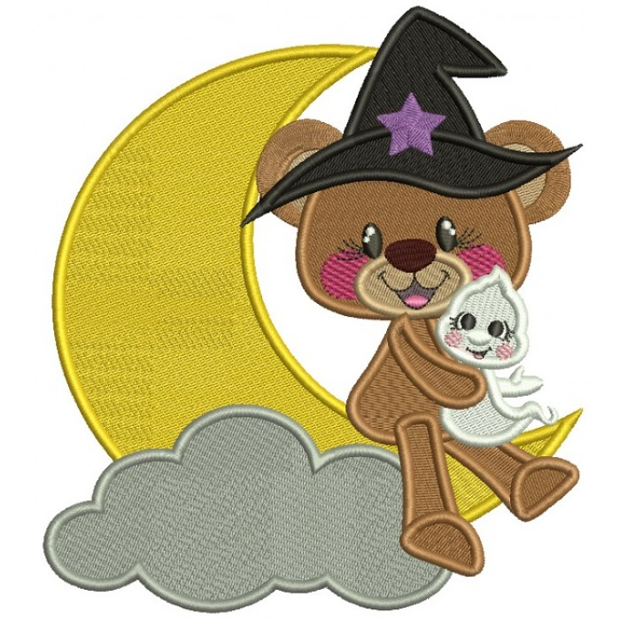 Cute Bear Wearing Wizard Hat Holding a Little Ghost Halloween Filled Machine Embroidery Design Digitized Pattern