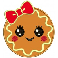 Cute Girl Cookie With a Huge Bow Applique Machine Embroidery Design Digitized Pattern