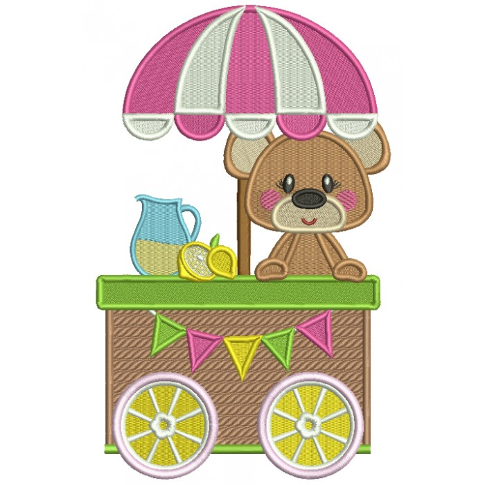 Cute Little Bear Behind a Lemonade Stand Filled Machine Embroidery Design Digitized Pattern