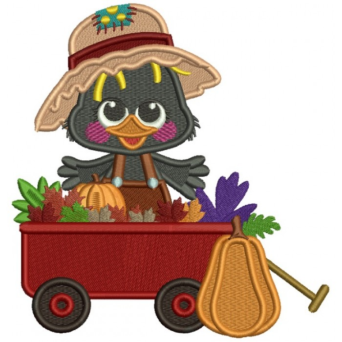 Cute Little Crow Sitting Inside The Cart With Pumpkins Fall Thanksgiving Filled Machine Embroidery Design Digitized Pattern