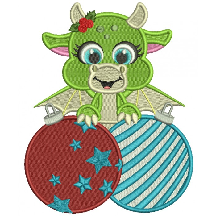 Cute Little Dragon Holding Christmas Ornaments Filled Machine Embroidery Design Digitized Pattern