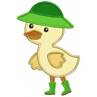 Cute Little Duck Wearing Rain Boots and a Hat Applique Machine Embroidery Design Digitized Pattern