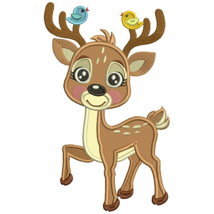 Cute Little Reindeer With Two Singing Birds Applique Machine Embroidery Design Digitized Pattern