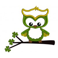 Cute Owl Sitting a Branch Applique St. Patrick's Day Machine Embroidery Design Digitized Pattern