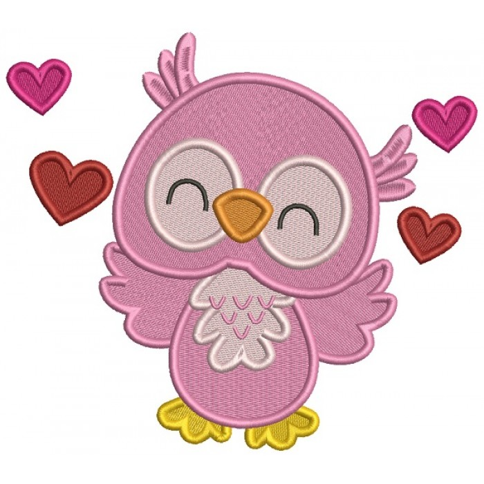 Cute Owl With Hearts Filled Machine Embroidery Design Digitized Pattern