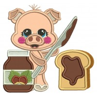 Cute Pig With Peanut Butter And Jelly Sandwich Applique Machine Embroidery Design Digitized Pattern