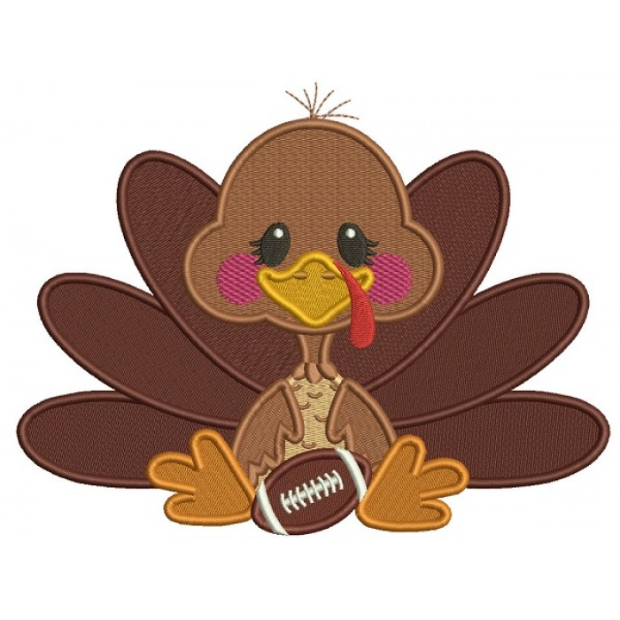 Cute Turkey With a Football Sports Fall Filled Thanksgiving Machine Embroidery Design Digitized Pattern