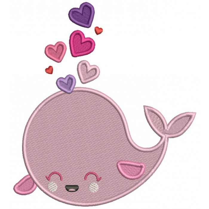 Cute Whale With Hearts Valentine's Day Filled Machine Embroidery Design Digitized Pattern
