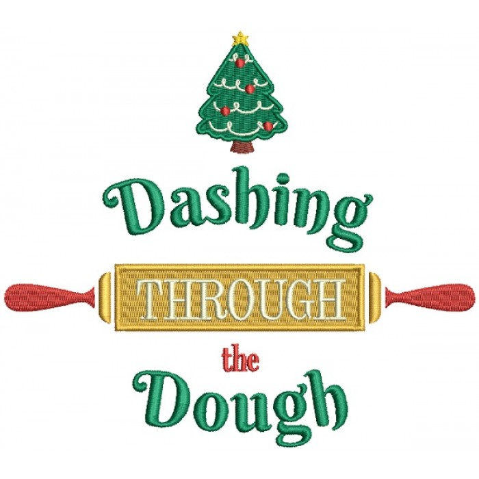 Dashing Through The Dough Filled Christmas Machine Embroidery Design Digitized Pattern