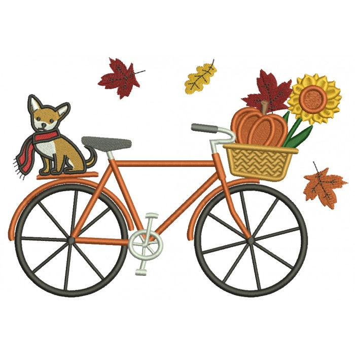 Fall Bike With a Cute Dog And a Pumpkin Filled Thanksgiving Machine Embroidery Design Digitized Pattern