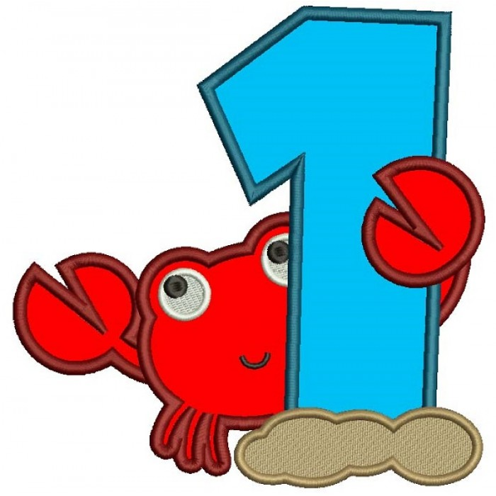 First Birthday Little Crab Applique Machine Embroidery Design Digitized Pattern
