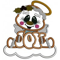 Gingerbread Angel On The Cloud JOY Applique Christmas Machine Embroidery Design Digitized Pattern