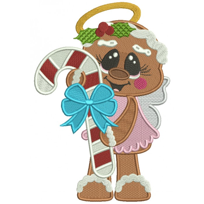 Gingerbread Girl Angel Holding Candy Cane Filled Christmas Machine Embroidery Design Digitized Pattern