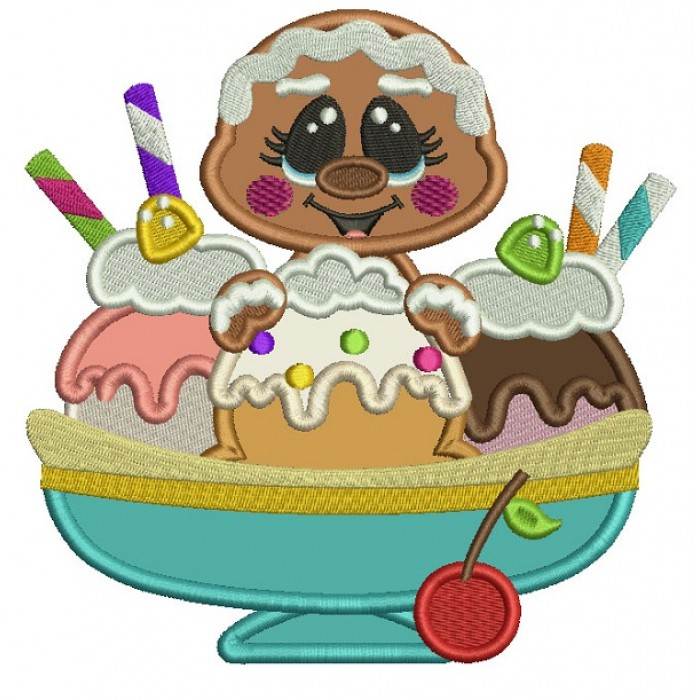 Gingerbread Girl Behind Three Scoops Of Ice Cream Applique Machine Embroidery Digitized Design Pattern