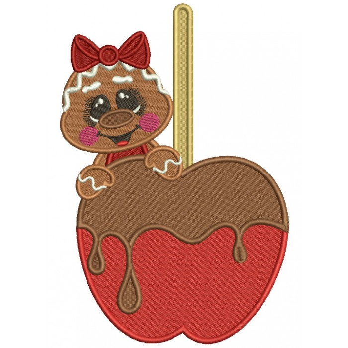 Gingerbread Girl Holding a Chocolate Covered Cherry Christmas Filled Machine Embroidery Design Digitized Pattern