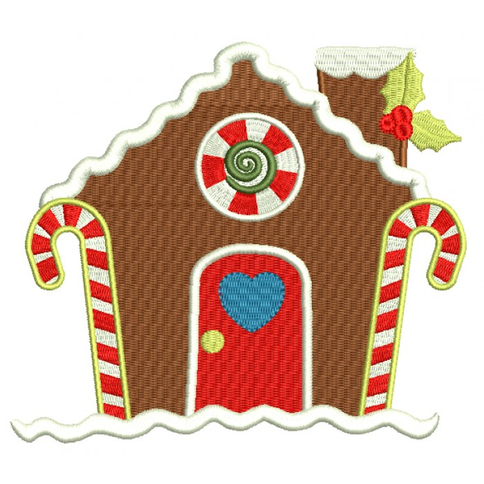 Gingerbread House With Heart On The Door Christmas Filled Machine Embroidery Design Digitized Pattern