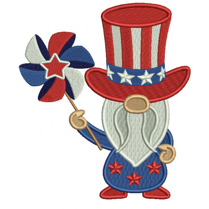 Gnome Holding Pinwheel 4th Of July Patriotic Filled Machine Embroidery Design Digitized Pattern