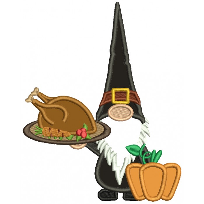 Gnome Holding a Turkey Thanksgiving Applique Machine Embroidery Design Digitized Pattern