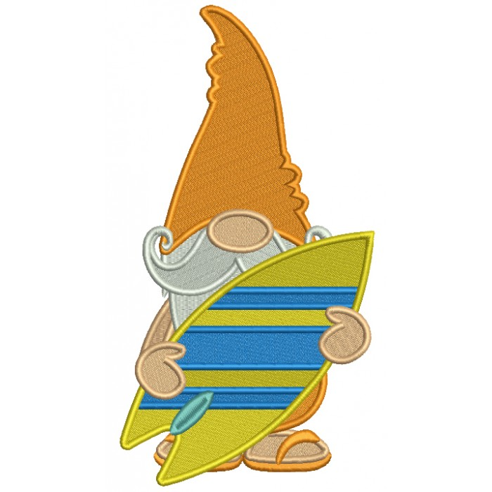 Gnome Surfer Filled Machine Embroidery Digitized Design Pattern