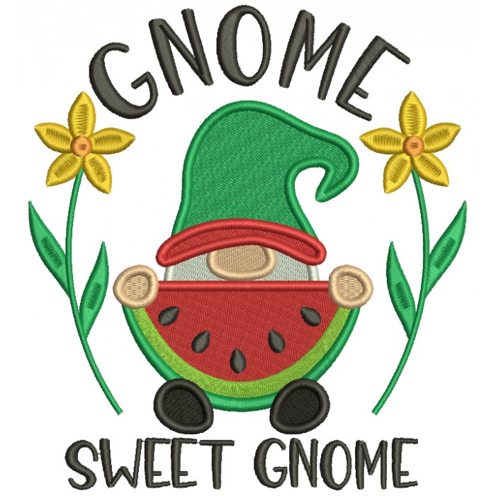 Gnome Sweet Gnome Eating Watermelon Filled Machine Embroidery Design Digitized Pattern