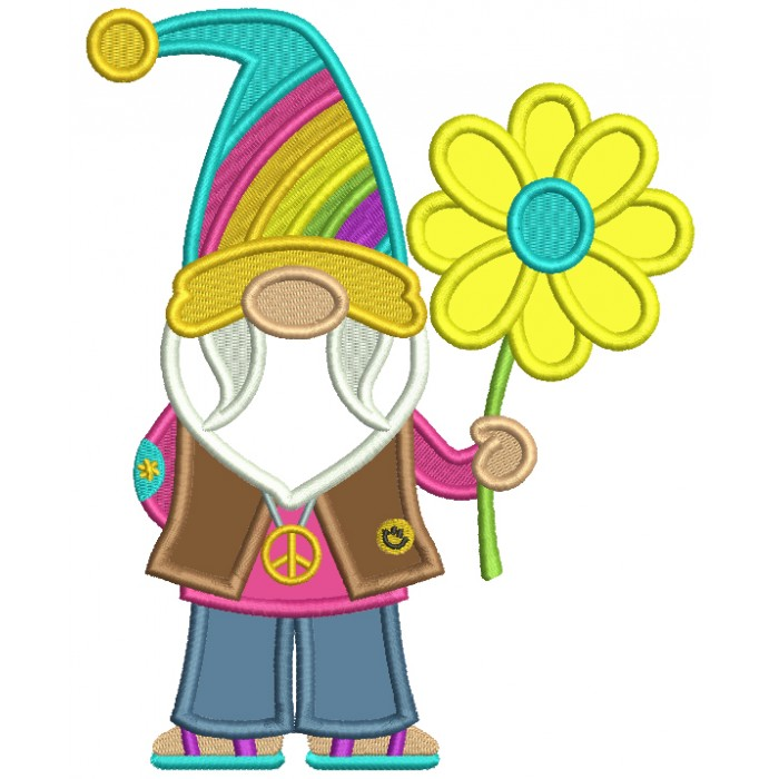 Gnome Wearing Peace Sign Holding Flower Applique Machine Embroidery Design Digitized Pattern
