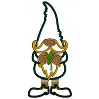 Gnome With Big Hat Holding a Shamrock Applique St. Patrick's Day Machine Embroidery Design Digitized Pattern