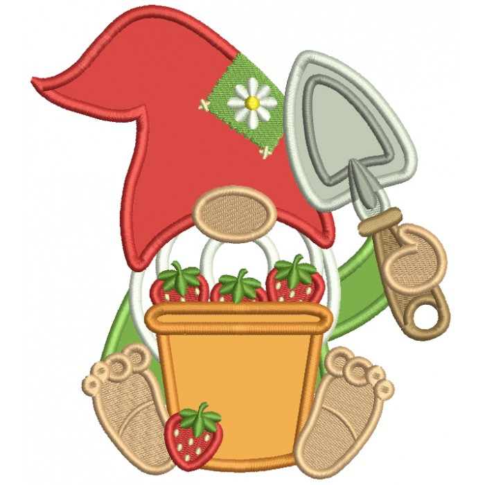 Gnome With a Bucket Full Of Strawberries And a Garden Trowel Applique Machine Embroidery Design Digitized Pattern