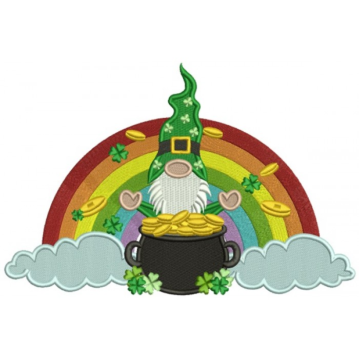 Gnome With a Pot Of Gold In The Clouds With a Rainbow Filled St. Patrick's Day Machine Embroidery Design Digitized Pattern