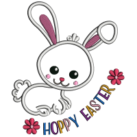 Happy Easter Cute Bunny Applique Machine Embroidery Design Digitized Pattern