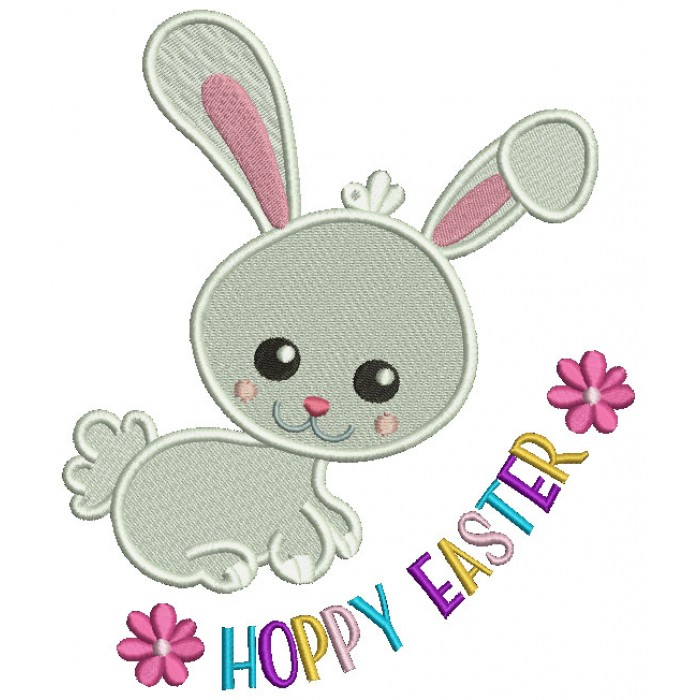 Happy Easter Cute Bunny Filled Machine Embroidery Design Digitized Pattern