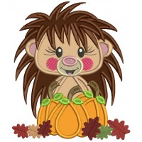 Hedgehog Holding Pumpkin With Leaves Thanksgiving Applique Machine Embroidery Design Digitized Pattern