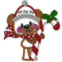 Ho Ho Ho Cute Bear With Candy Cane Applique Christmas Machine Embroidery Design Digitized Pattern