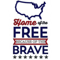 Home Of The Free Because Of The Brave USA Patriotic Applique Machine Embroidery Design Digitized Pattern