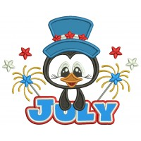 Independence Day 4th Of July Penguin And Fireworks Applique Machine Embroidery Design Digitized Pattern