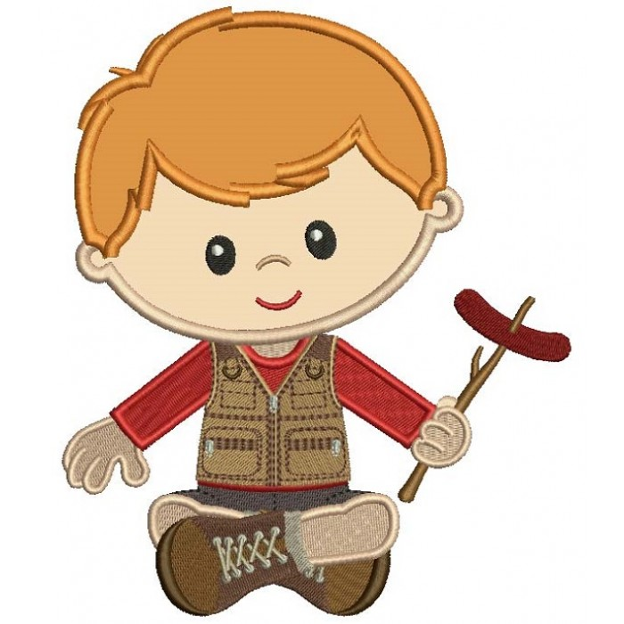 Little Boy Camper Applique Machine Embroidery Design Digitized Pattern
