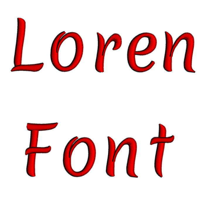 Loren Font Machine Embroidery Script Upper and Lower Case 1 2 3 inches