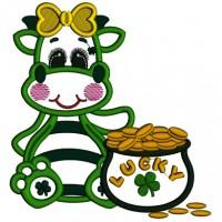 Lucky Girl Dino With a Pot Of Gold Applique St. Patrick's Day Machine Embroidery Design Digitized Pattern