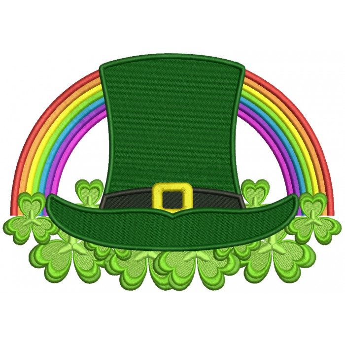 Lucky Hat And Rainbow St. Patrick's Filled Machine Embroidery Design Digitized