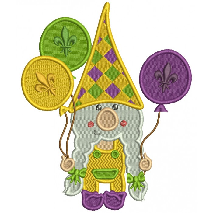 Mardi Gras Gnome Holding Balloons Filled Machine Embroidery Design Digitized Pattern