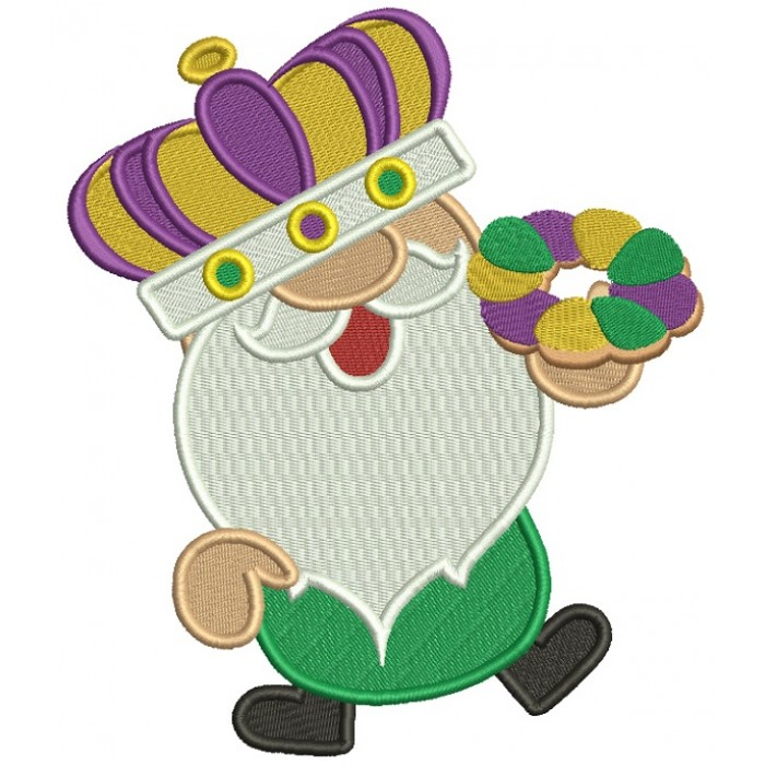 Mardi Gras Gnome Wearing a Crown Filled Machine Embroidery Design Digitized Pattern