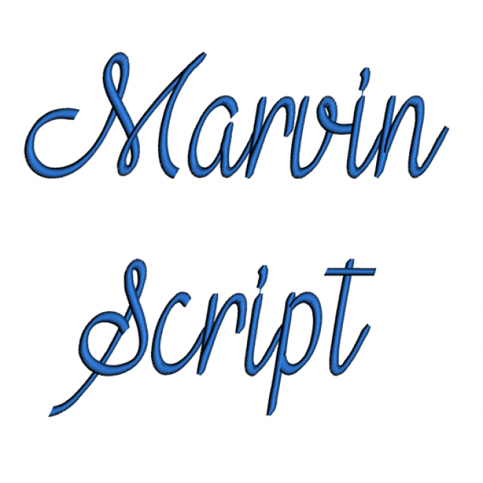 Marvin Script Machine Embroidery Font Upper and Lower Case 1 2 3 inches